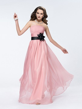 Popular Strapless Flower Ruched A-Line Floor-Length Bridesmaid Dress