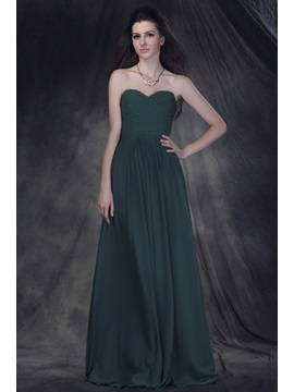 Exquisite A-Line Strapless Sleeveless Floor-Length Ruched Anderai's Bridesmaid Dress