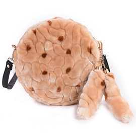 Trendy Round Fuzzy Shoulder Bag