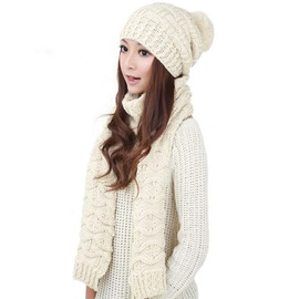 Warm Knitted Hat and Scarf Set