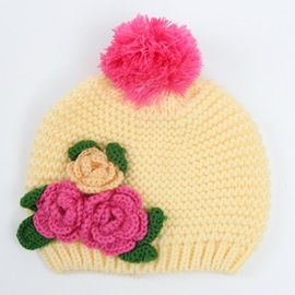 Nice Flower Decorated Baby's Winter Hat
