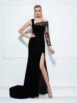 Long Sleeve Split-Front Black Lace Evening Dress