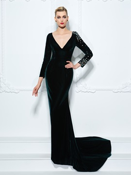 Deep V-Neck Long Sleeve Crystal Sheath Evening Dress