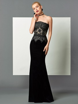 Fancy Mermaid Strapless Lace Floor-Length Evening Dress