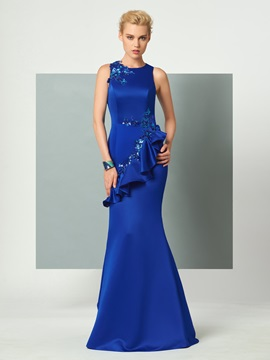 Unique Scoop Trumpet Appliques Ruffles Sequins Floor-Length Evening Dress