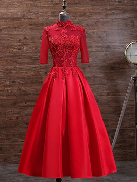 Exquisite a line high neck half sleeves appliques beading tea length