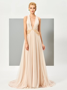 Concise A-Line V-Neck Beading Ruched Court Train Evening Dress