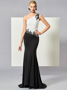 ELegant One-Shoulder Mermaid Appliques Beading Floor-Length Evening Dress