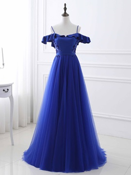 Fancy A-Line Spaghetti Straps Short Sleeves Ruffles Sequins Sweep Train Evening Dress