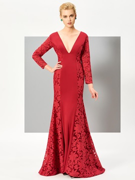 Nice Mermaid V-Neck Long Sleeves Lace Sweep Train Evening Dress
