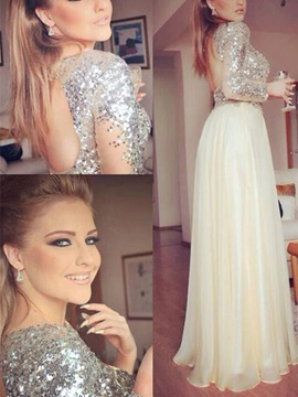 Gorgeous A-Line Jewel Long Sleeves Sequins Floor-Length Prom Dress