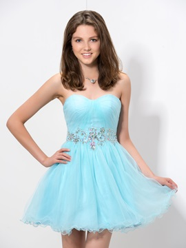 Modern Sweetheart Beaded Crystal Short Homecoming Dress