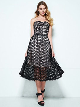 Sweetheart A-Line Tea-Length Lace Homecoming Dress