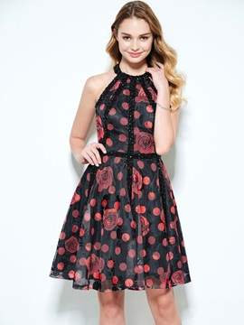 Halter Beading Backless Print Homecoming Dress