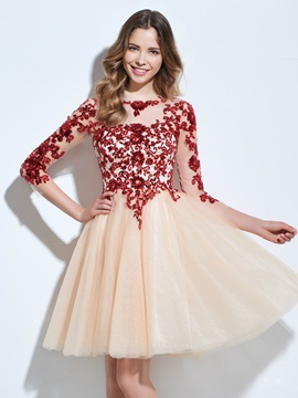 Bateau Neck 3/4 Length Sleeves Sequins Appliques Homecoming Dress