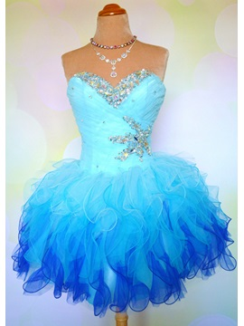 Pretty Sweetheart Beading Ruffles Lace-up Short Homecoming Dress