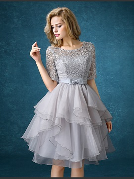 Fancy Scoop Neck Half Sleeves Lace Homecoming Dress