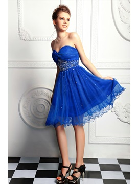 Pretty A-Line Short-Length Sweetheart Sequins Beading Anita's Homecoming Dress