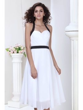 Top Selling Sweetheart A-line Bowknot Button Juliana's Knee-Length Homecoming Dress