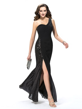 Ladylike One-Shoulder Trumpet Split-Front Sequins Floor-Length Evening Dress Designed & attractive Designer Dresses