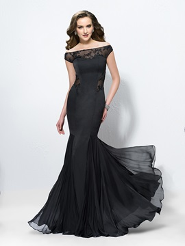 Elegant Trumpet Off the Shoulder Appliques Long Evening Dress Designed & Designer Dresses on sale