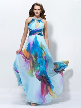 Charming A-Line Jewel Neck Sequins Long Prom Dress Designed