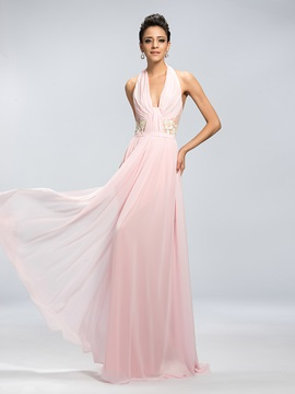 Elegant A-Line Halter Appliques Pleats Backless Long Evening Dress Designed