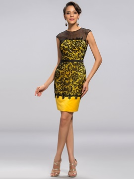 Delicate Column Lace Sash Short Party Dress Designed & Designer Dresses from china