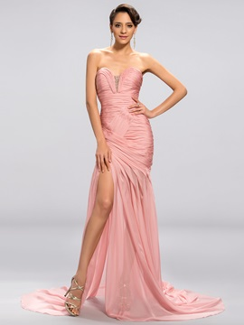 Dazzling Sheath Sweetheart Pleats Beading Split Front Evening Dress Designed & Designer Dresses for less