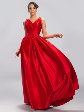 Simple Style V-Neck Pleats Straps Zipper-up Long Evening Dress Designed & Designer Dresses under 300