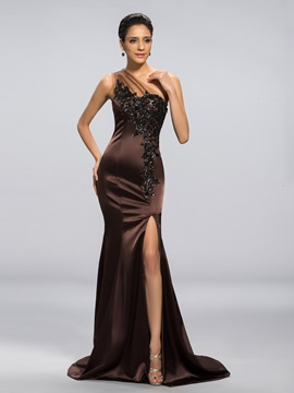 One-Shoulder Mermaid Appliques Split-Front Long Evening Dress & fairy Designer Dresses
