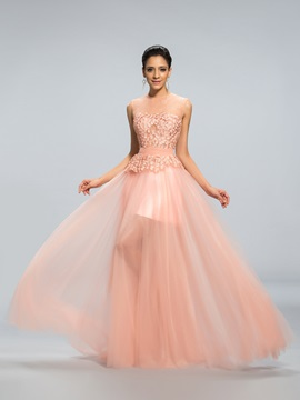Jewel Neckline A-Line Lace Appliques Long Prom Dress Designed