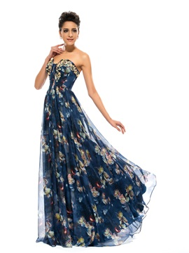 Stunning A-Line Strapless Pleats Beading Pattern Long Evening Dress & vintage style Designer Dresses