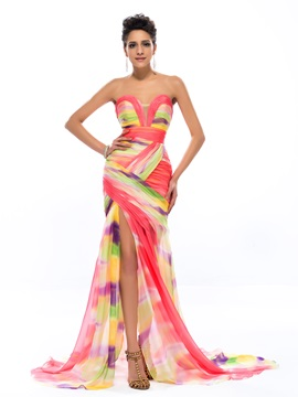 Fashion Sweetheart Print Ruched Sweep Train Long Evening Dress Designed & Designer Dresses for less