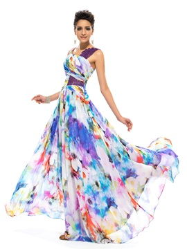 Modern Straps Sequins Floral Printed Evening Dress Designed & Designer Dresses under 500