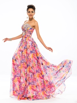 Eye-catching Sweetheart Beading Printing A-Line Long Prom Dress & Designer Dresses on sale