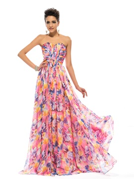 Strapless Pleats Floral Printing Long Prom Dress Designed & Designer Dresses from china