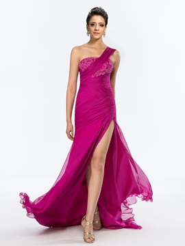 Glorious One-Shoulder Split-Front Appliques Long Evening Dress Designed & Designer Dresses from china