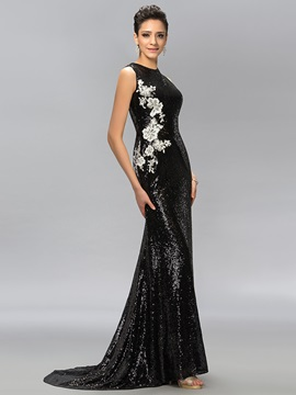 Jewel Neck Sequins Sweep Train Long Evening Dress Designed & Designer Dresses for less