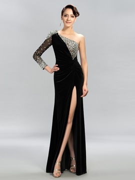 Classy One-Shoulder Long Sleeves Split-Front Long Evening Dress Designed & petite Designer Dresses