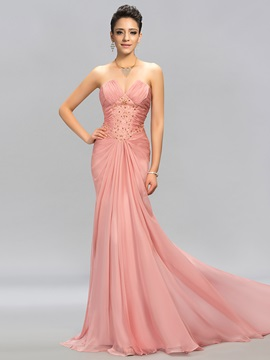 Modest Strapless Trumpet Beading Pleats Long Evening Dress Designed & casual Designer Dresses
