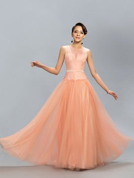 Dazzling Tulle Neckline Lace A-Line Long Evening Dress Designed & unusual Designer Dresses