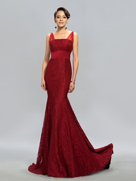 Timeless Straps Lace Mermaid Court Train Long Evening Dress Designed & simple Designer Dresses