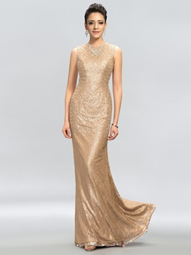 Jewel Neck Sheath Pearls Beading Long Evening Dress Designed