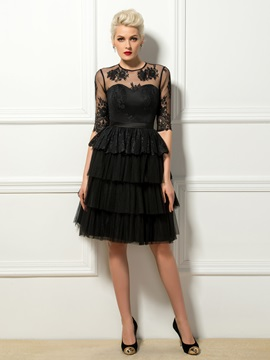 Stunning A-Line Jewel Neck Lace Half Sleeves Knee-Length Cocktail Dress Designed & Designer Dresses 2012