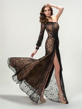 Sensual One Shoulder Split-Front Lace Long Sleeve Long Evening Dress Designed & quality Designer Dresses