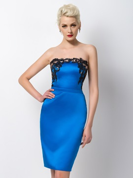 Column Strapless Sequined Appliques Short Formal Dress & cheap Designer Dresses