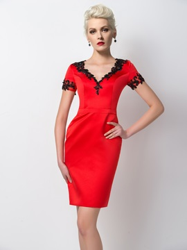 Modest Sheath V-Neck Short Sleeves Appliques Short Formal Dress & affordable Designer Dresses