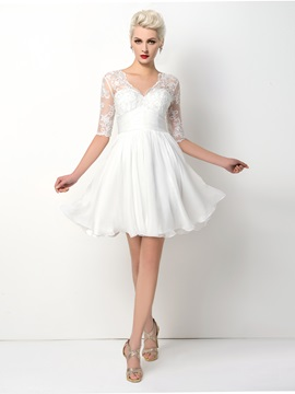 Modern V-Neck Appliques A-Line Little Cocktail Dress & Designer Dresses online
