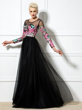 Fashion Sheer Neck Long Sleeves Lace-up Appliques Long Evening Dress & amazing Designer Dresses